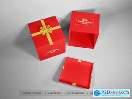 Christmas gift box with ribbon mockup 2