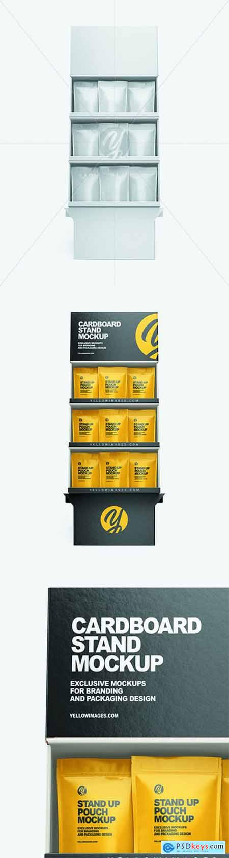 Cardboard Display Stand w- Pouches Mockup 68713