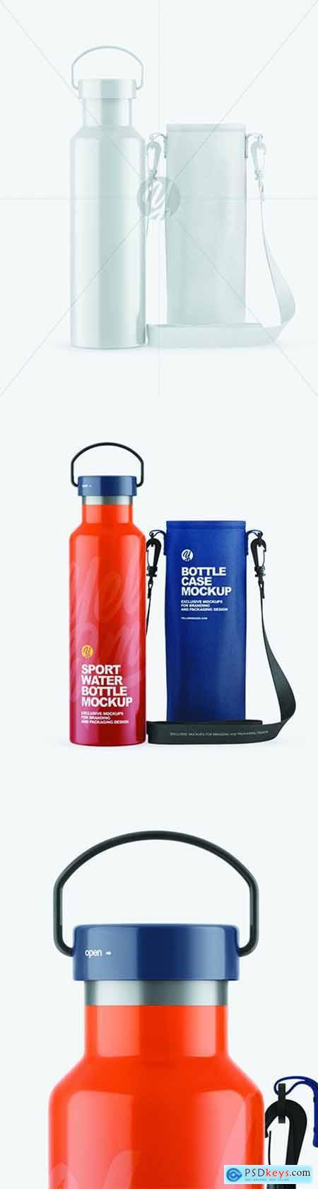 Glossy Water Bottle W- Case Mockup 68888