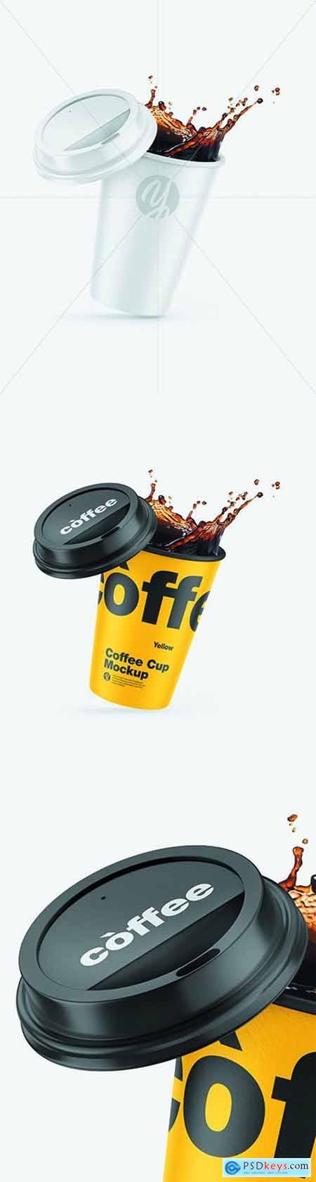Matte Coffee Cup w- Splash Mockup 68657