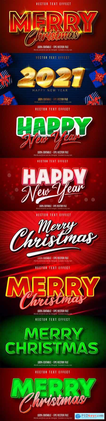 Merry Christmas editable font effect text collection illustration design