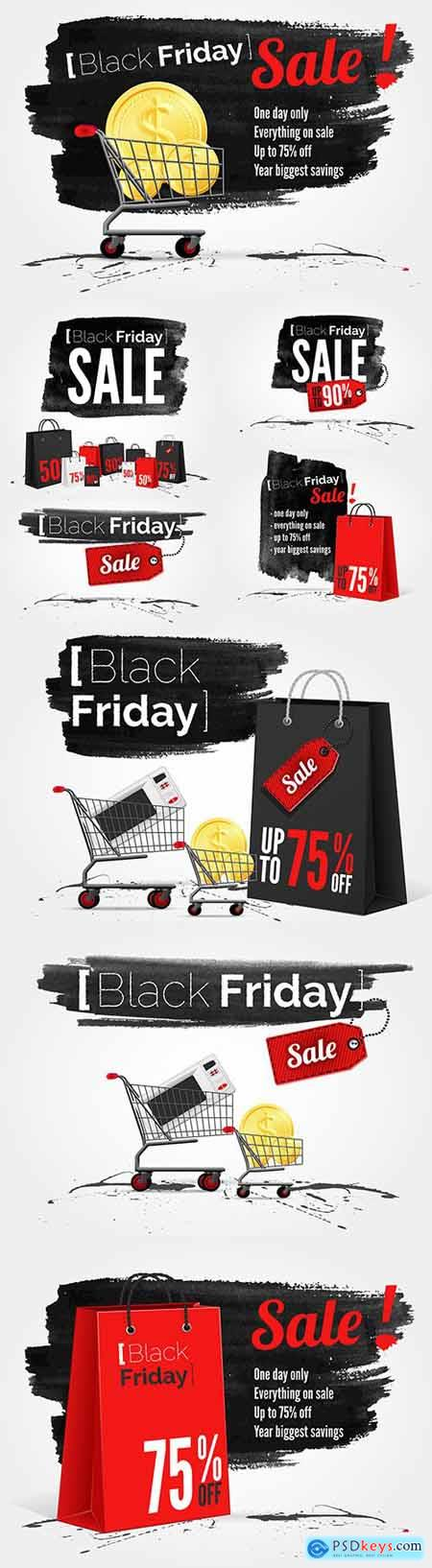 Black Friday watercolor banner with inks of ink and shopping bag