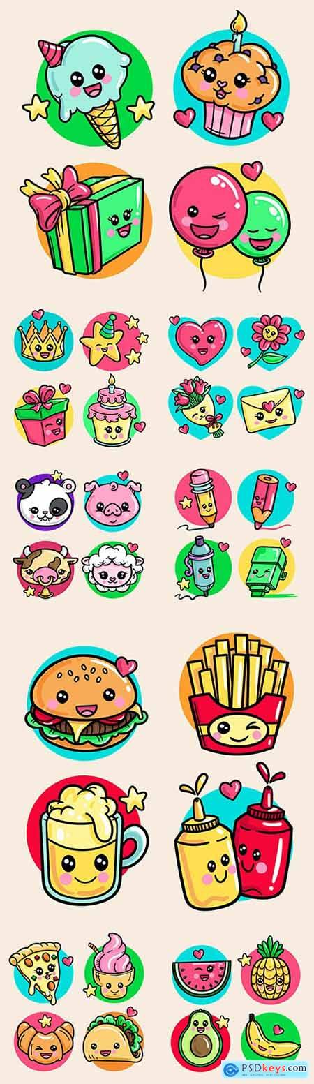 Tasty cakes and animal collection of kawaii creativity