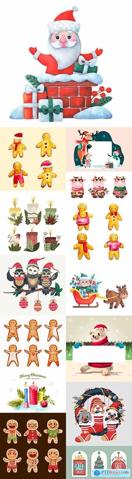 Fun Santa and Christmas characters cartoon illustration