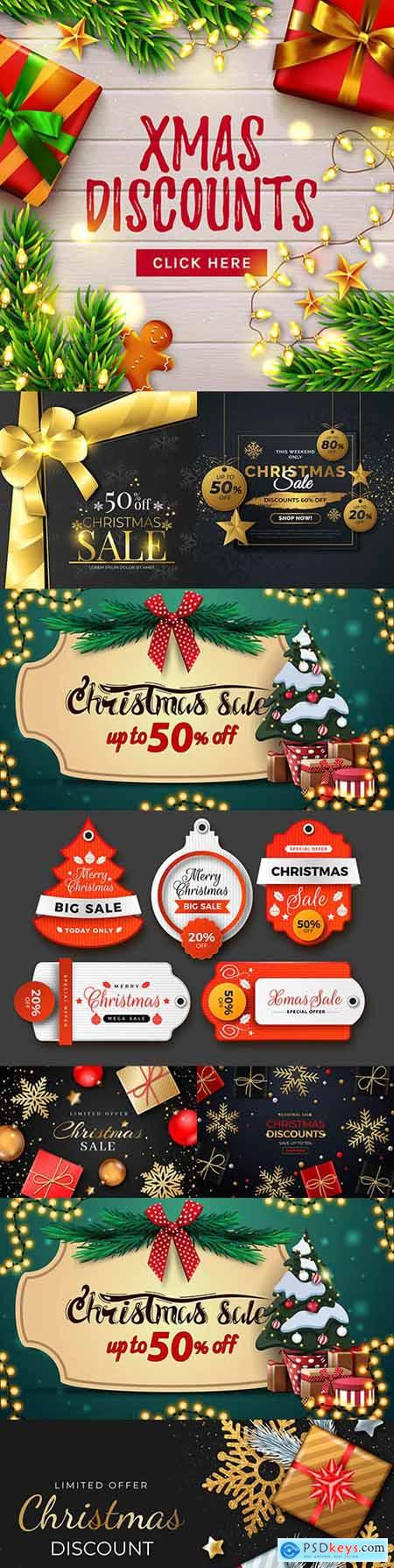 Realistic Christmas sale banner with gifts and snowflakes