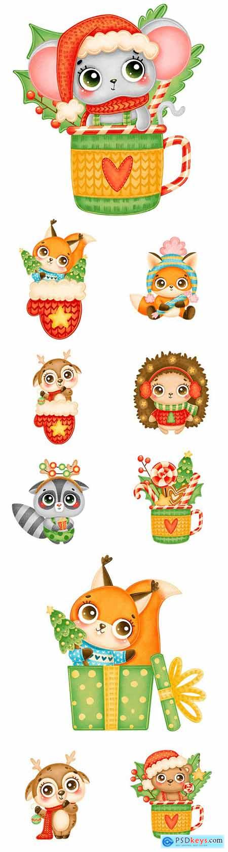 Cute cartoon animals in red hat and mittens Christmas illustrations 2