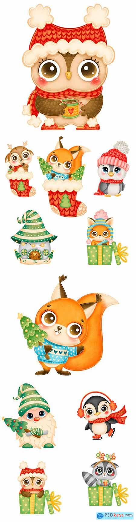 Cute cartoon animals in red hat and scarf Christmas illustrations