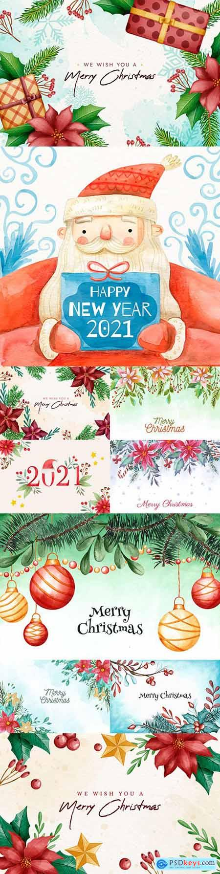 Merry Christmas watercolor New Year background