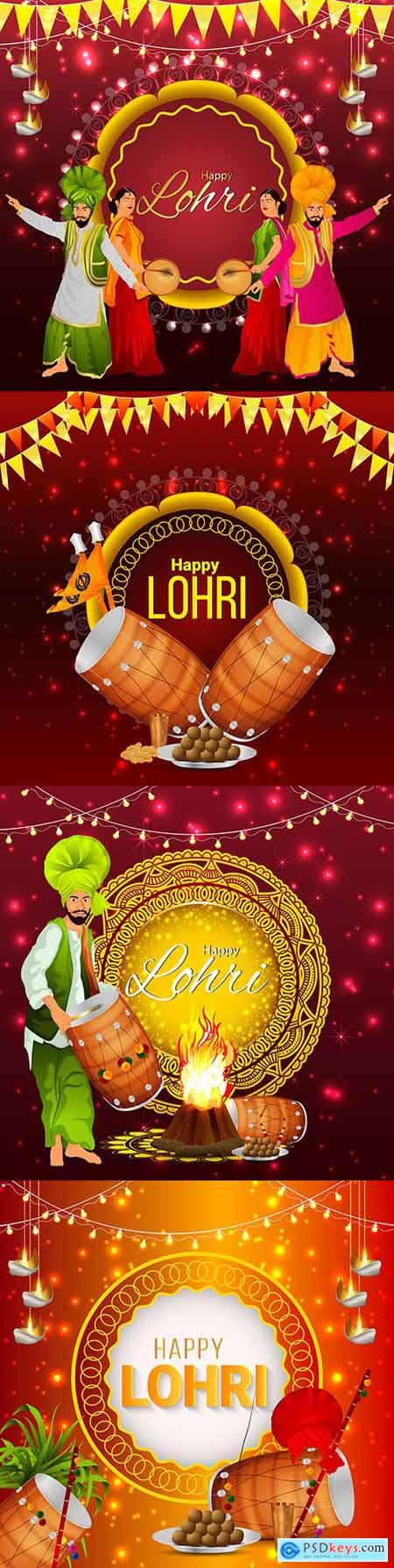 Happy Lohri Indian festival decorative illustration
