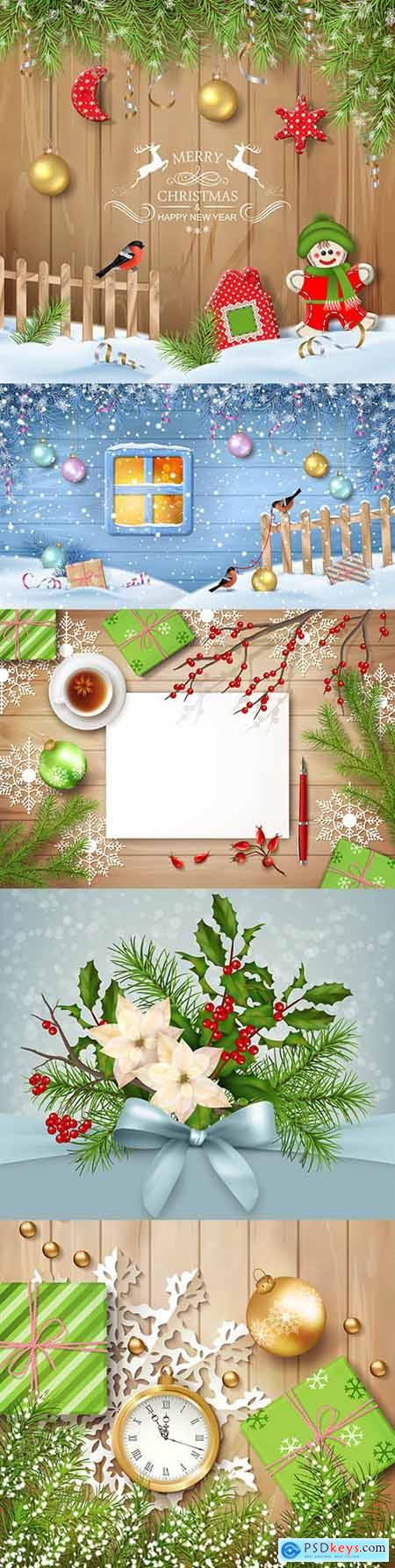 Merry Christmas and New Year 2021 decorative illustrations