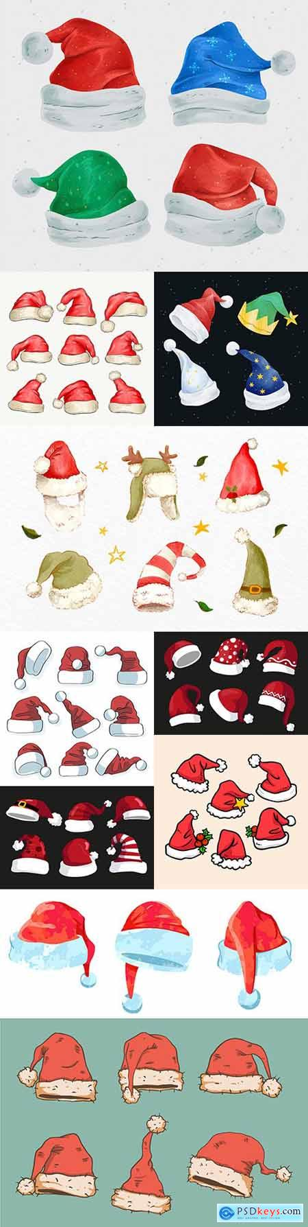 Santa Claus hat cartoon Christmas icons set isolated