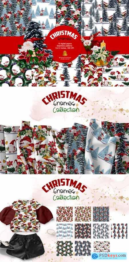 Watercolor Christmas Gnomes Patterns 6555657