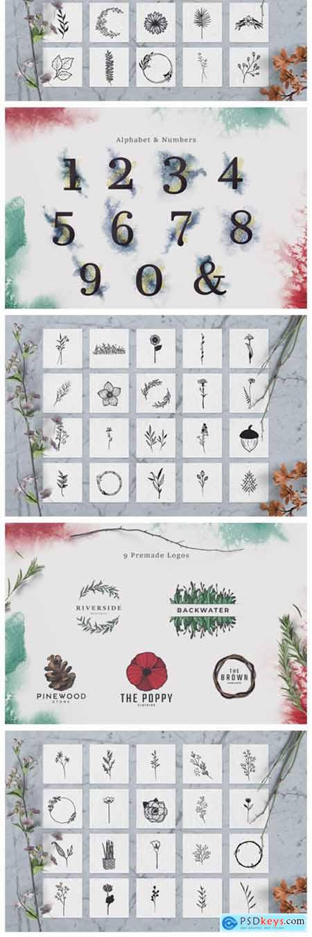 100 Hand Drawn Elements Floral 6578072