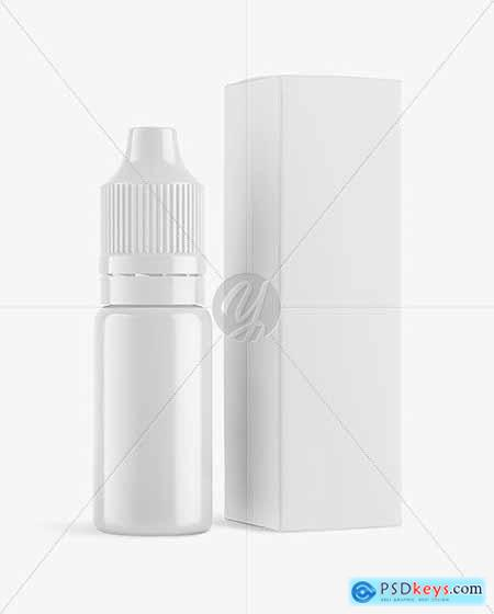 Glossy Dropper Bottle with Paper Box Mockup 69517