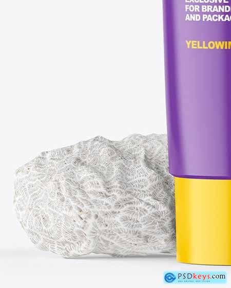 Matte Cosmetic Tube with Corall Sponges Mockup 69475