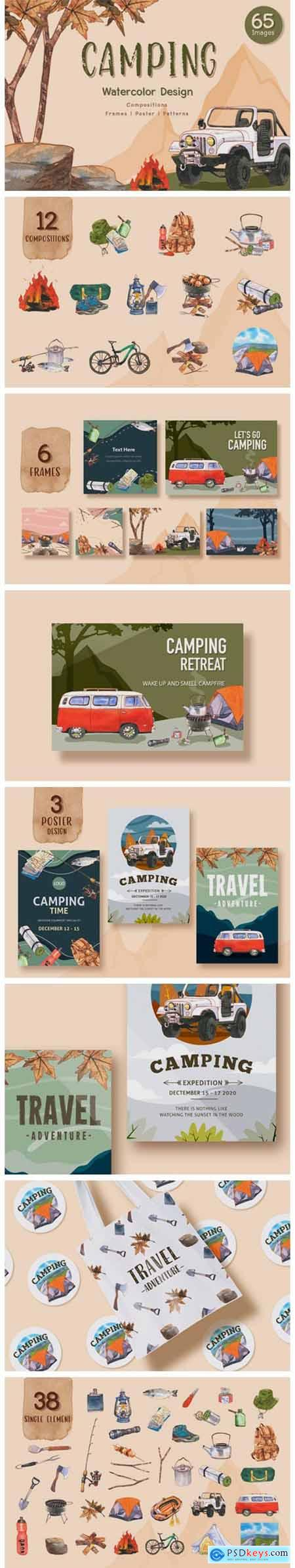 Camping Travel Watercolor Set 4862432
