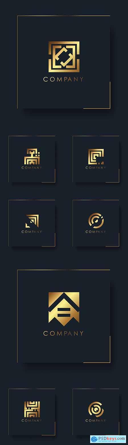 Abstract gold geometric logo company design