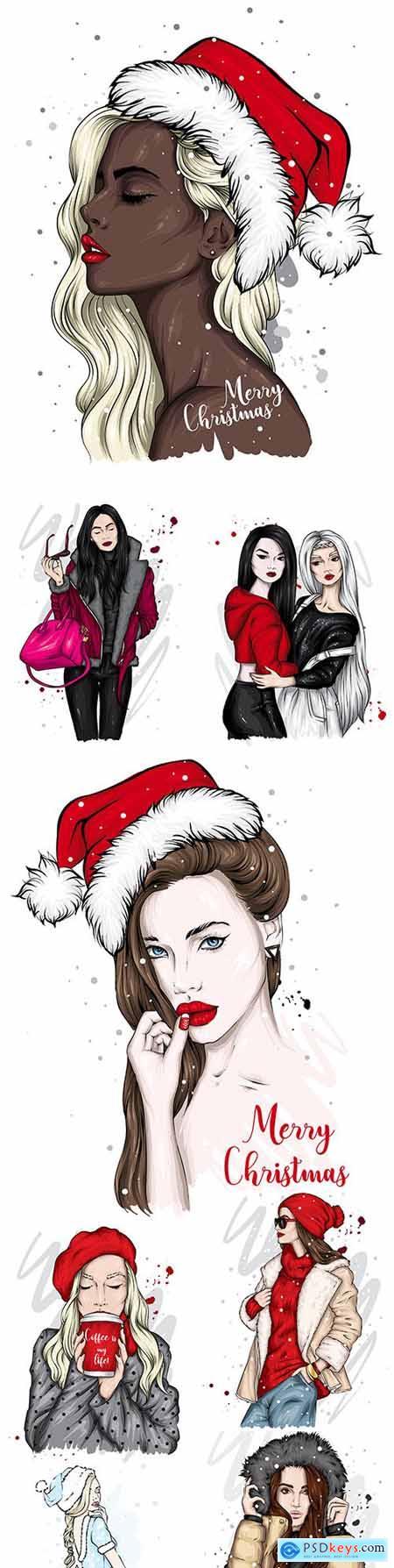 Beautiful girl in Santa Claus hat Christmas illustration 5