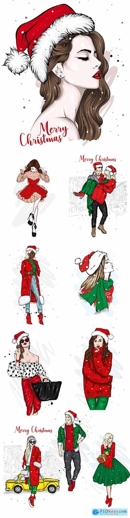 Beautiful girl and guy in stylish clothes and Santa Claus hat
