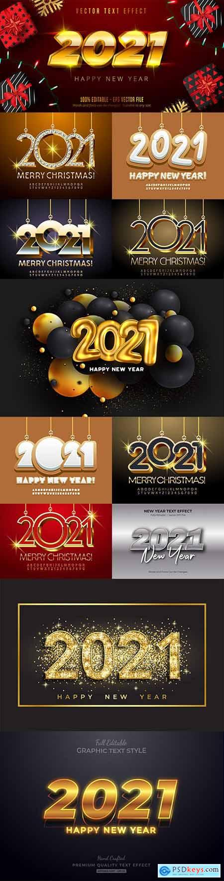 Happy New Year and Christmas 2021 decorative inscription 4