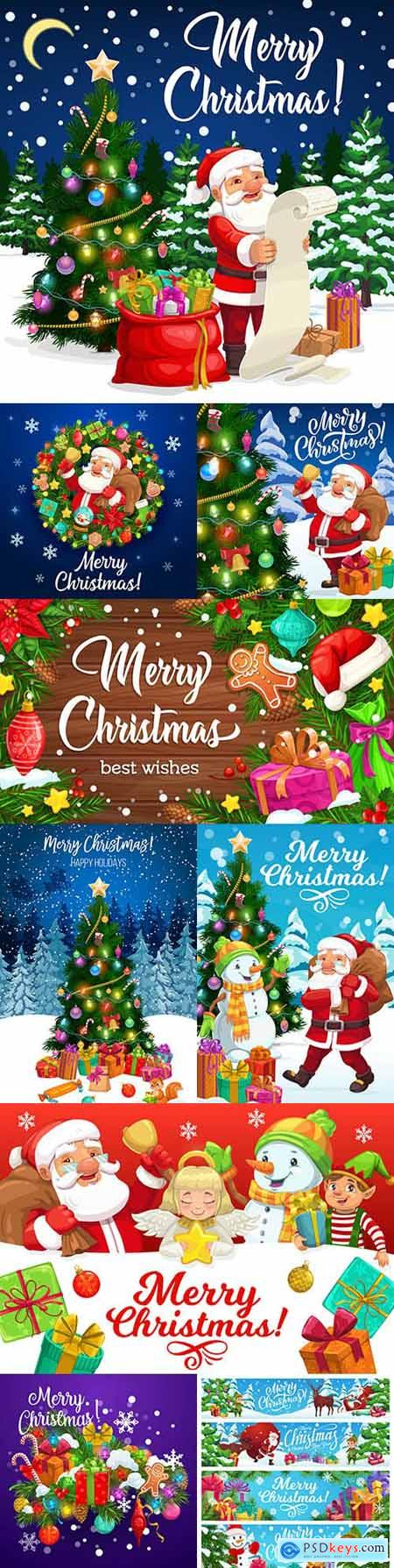 Christmas greeting card with Santa Claus gifts