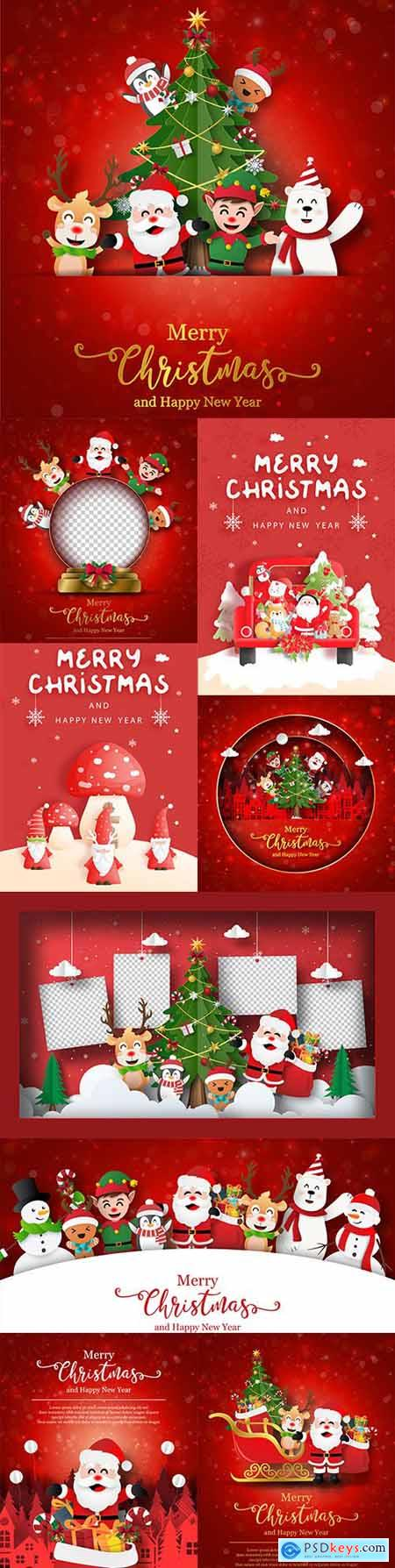 Santa Claus Christmas card and friends with gifts