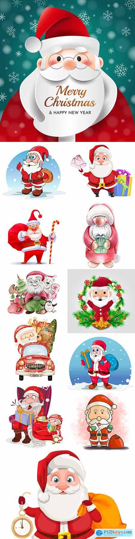 Santa Claus funny character with Christmas gift illustrations
