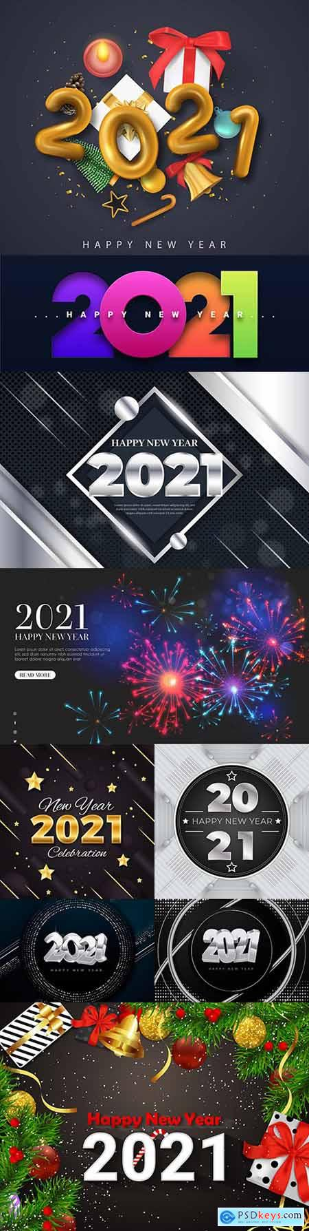 Happy New Year and Christmas 2021 decorative inscription 5
