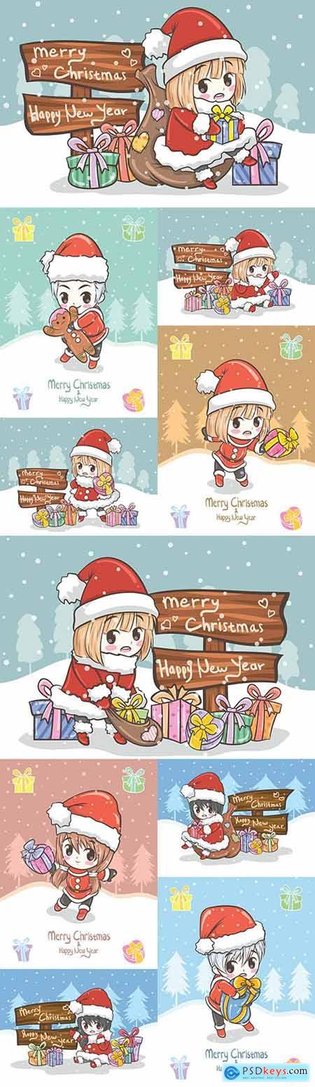 Sweet girl and guy santa holds gift box illustration