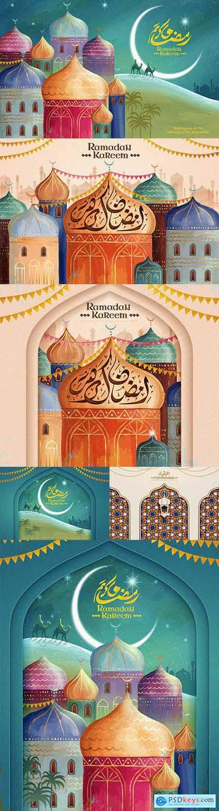 Calligraphy Yeid Mubarak and Ramadan Karim happy holiday