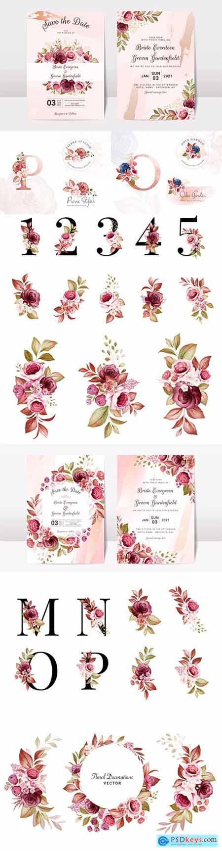 Floral wedding invitation template with elegant burgundy and brown roses