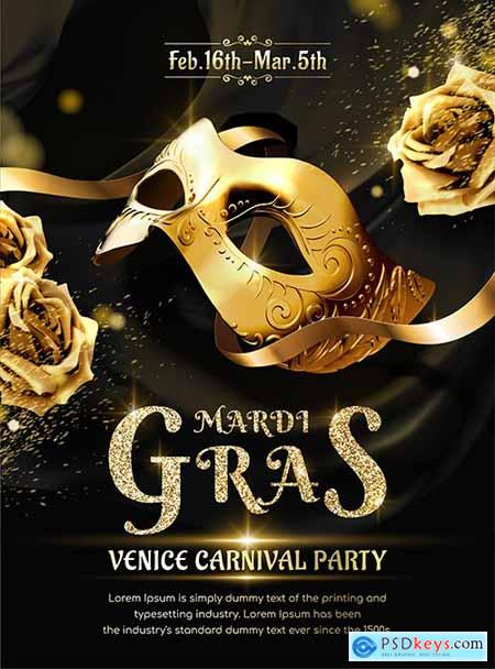 Carnival party on Mardi gras with gold mask and roses
