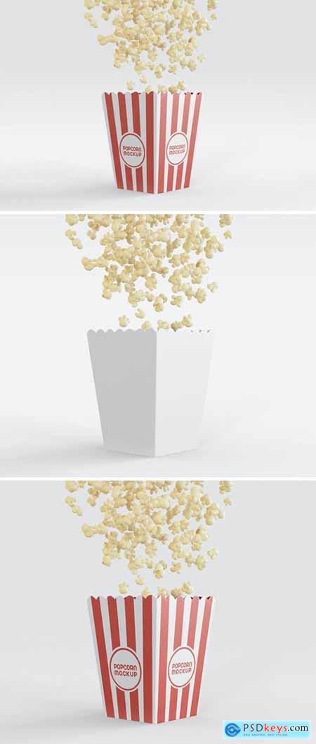 Bucket with Popcorns Flying Mockup