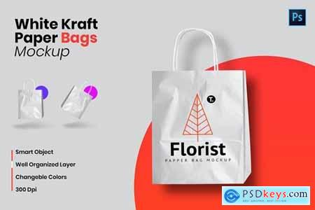 White Kraft Paper Bag Mockup