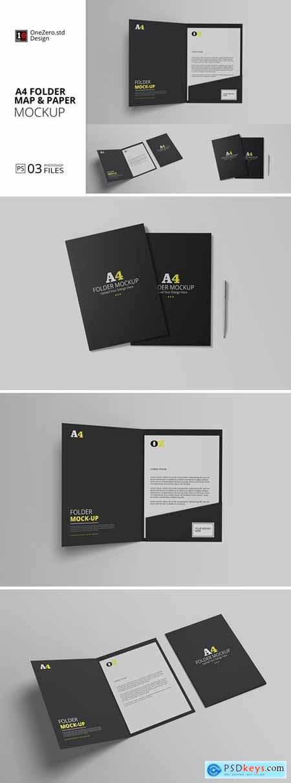 A4 Folder Map and Paper Mockup
