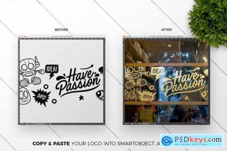 3 Cafe Glass Sticker Decals Mockup 5499362