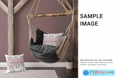 Throw Pillows and Fringe Carpet Set 5503013