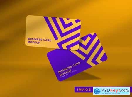 Close up on business card floating mockup