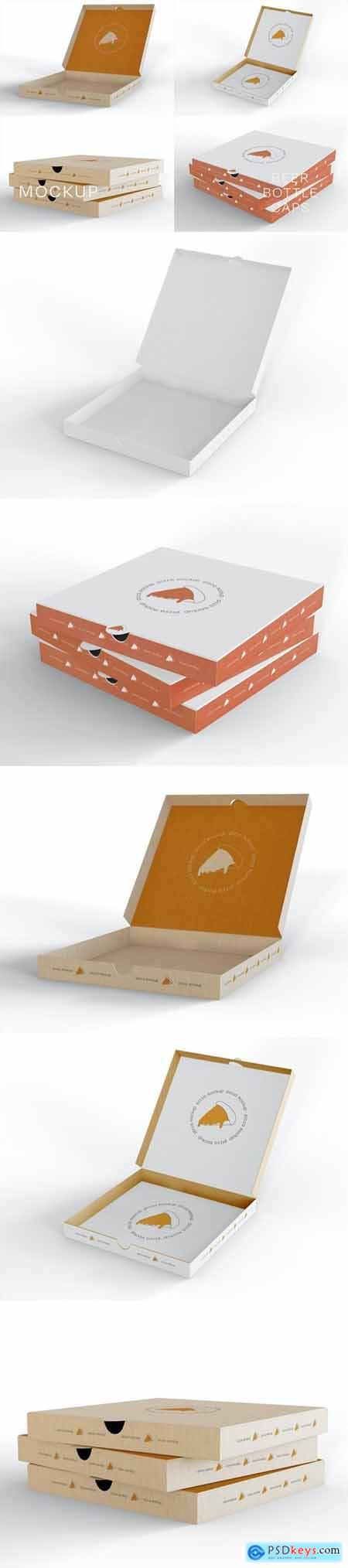 Stack of Pizza Boxes Mockup