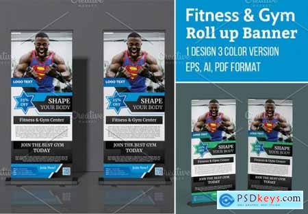 Fitness Gym Roll up Banner Template 5629674