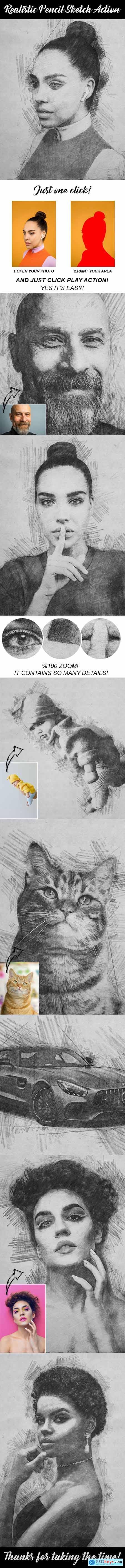 Realistic Pencil Sketch Action 28984168