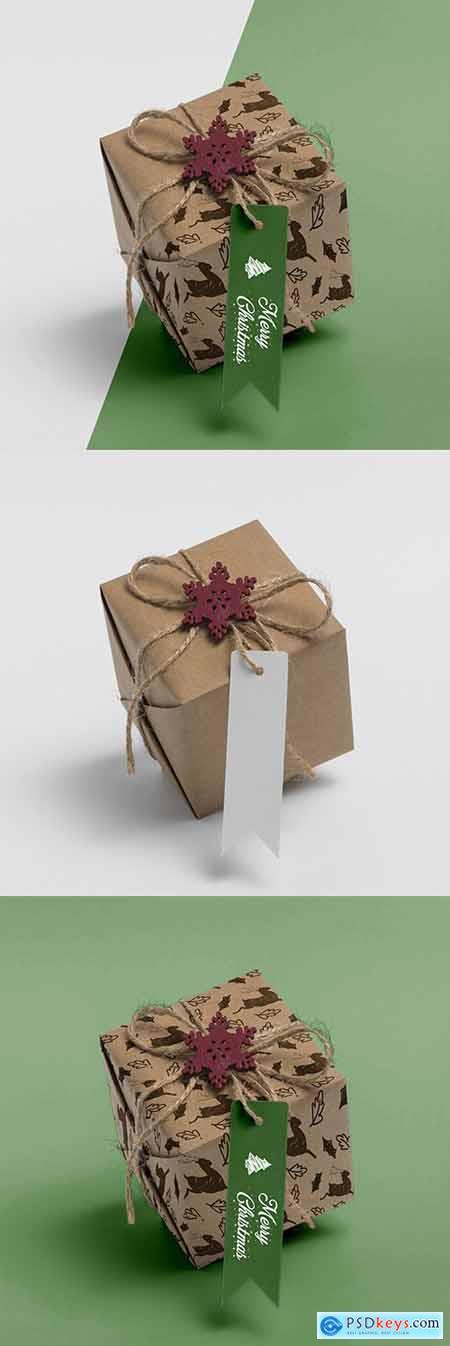 Christmas gift with banter on the table Mockup