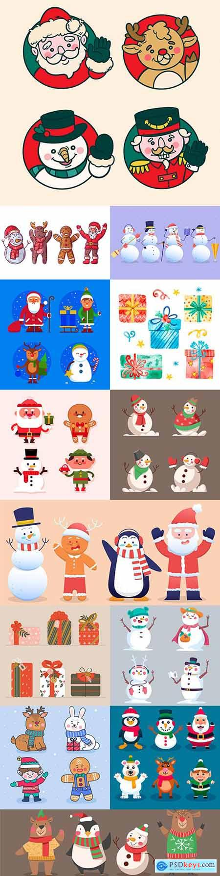 Christmas characters and gifts in flat design collection