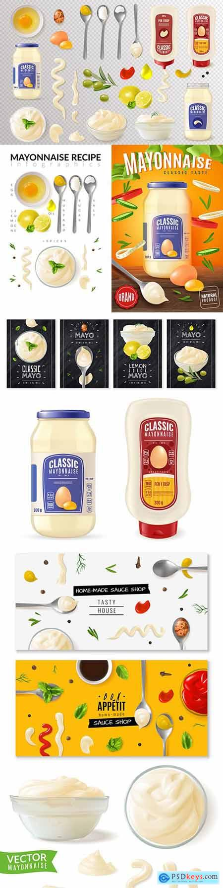 Realistic illustrations of glass can mayonnaise and recipe