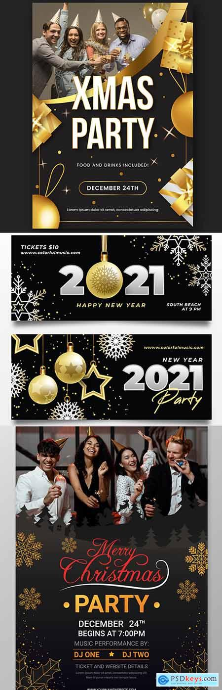 Christmas party and 2021 New Year design template