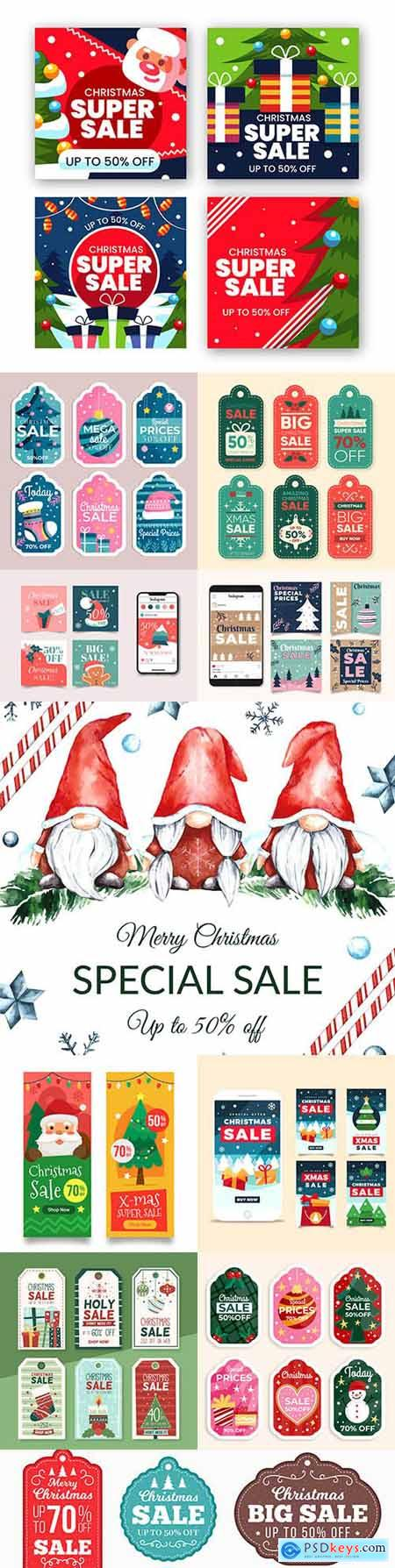 Christmas sale on instagram painted banners in flat design