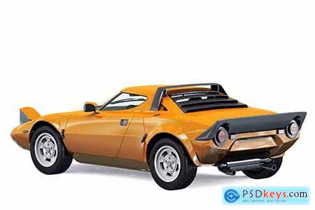 Mockup sports retro car