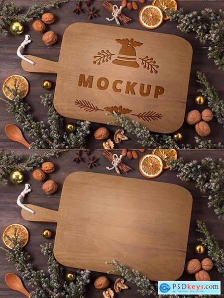 Christmas Mockup food concept with tangerines and walnuts