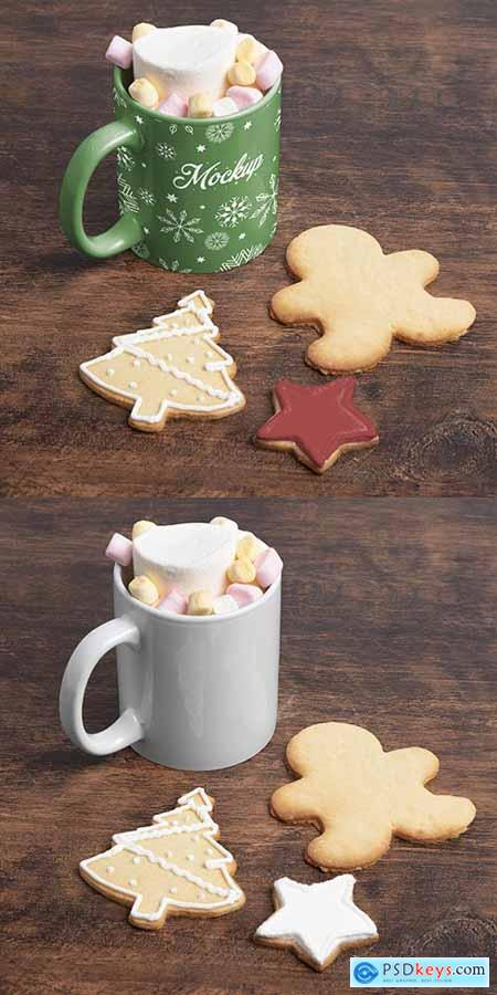 Christmas delicious drink and cookies on the table Mockup
