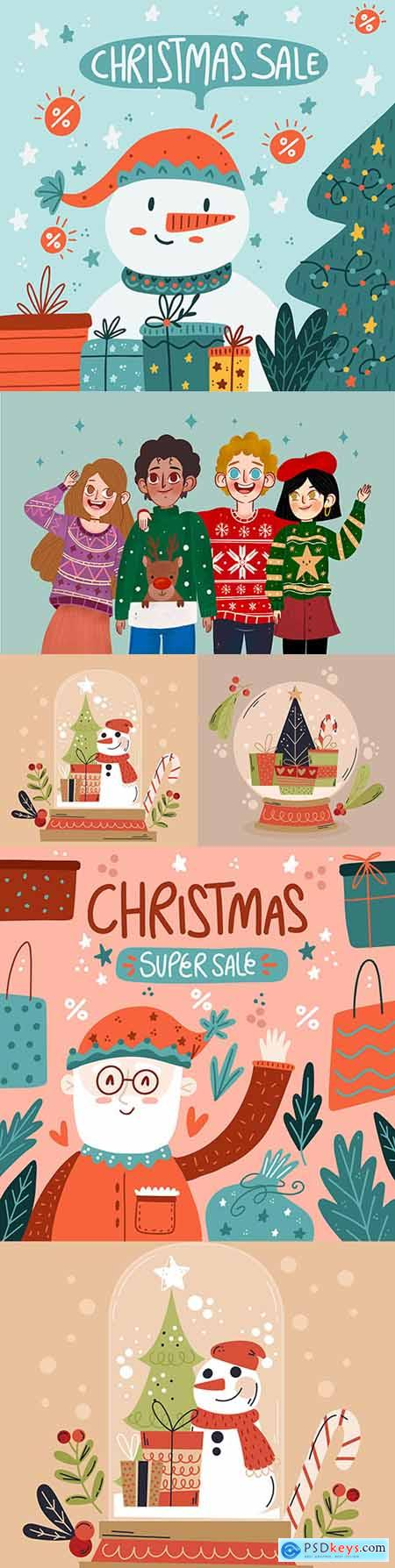 Christmas sales and people in knitted sweaters hand-drawn illustrations